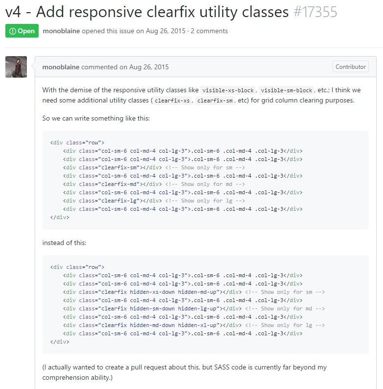 Bootstrap v4 -  Add in responsive clearfix utility classes
