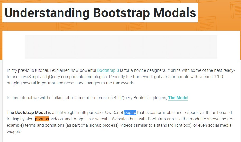 One more  practical  information  concerning Bootstrap Modal Popup